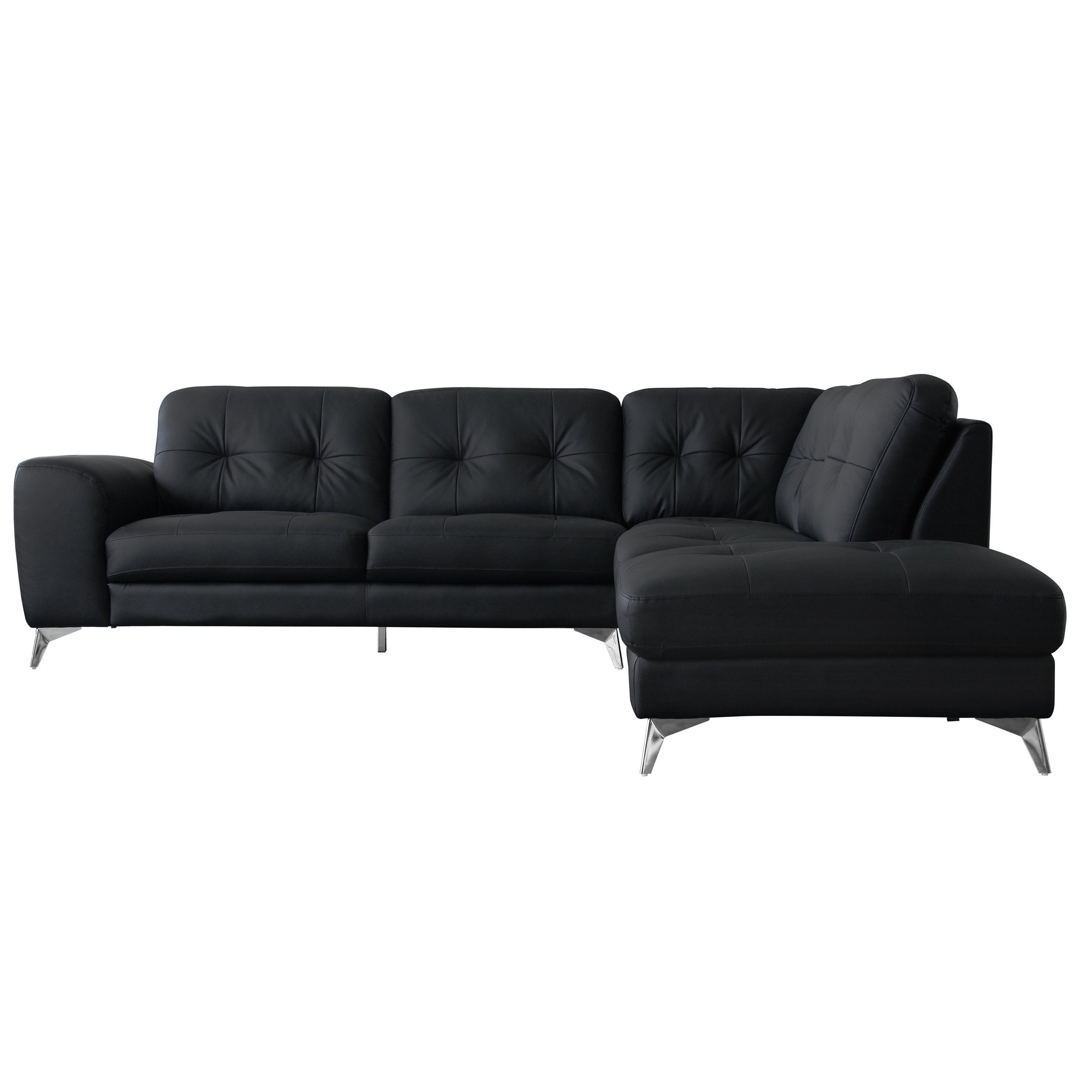 aurelle home madrid black leather right l shape sectional quinn rh pinterest co uk