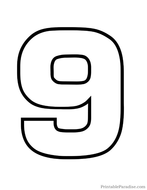 printable bubble number 9 outline