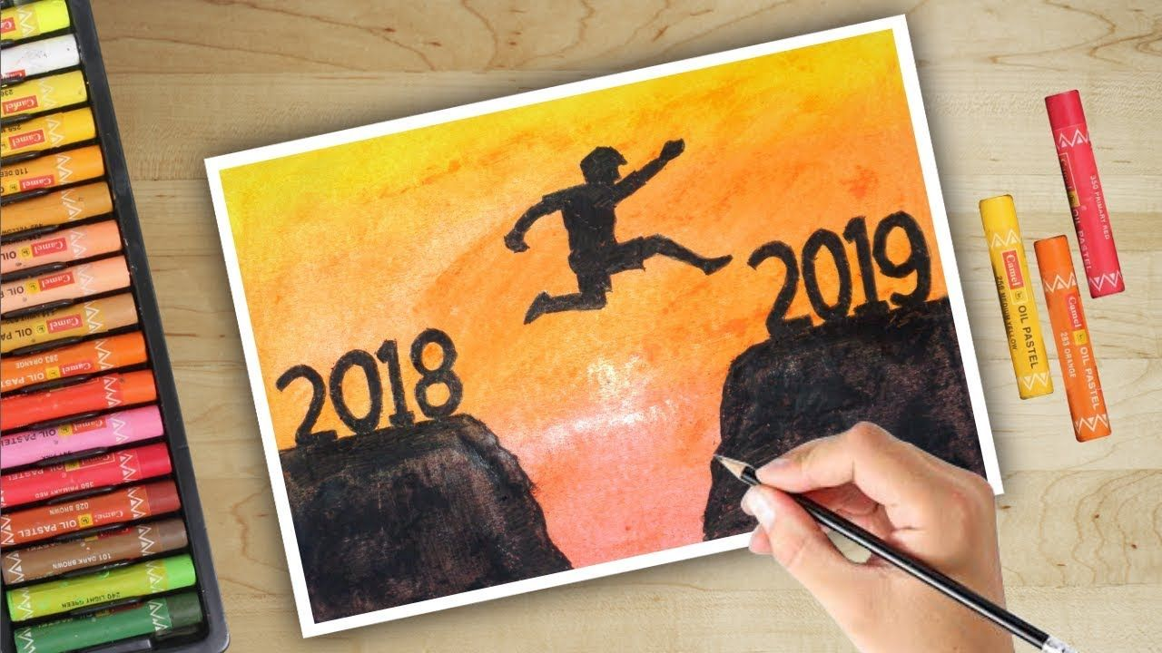 Step by Step Happy New Year drawing 2019 with oil pastels