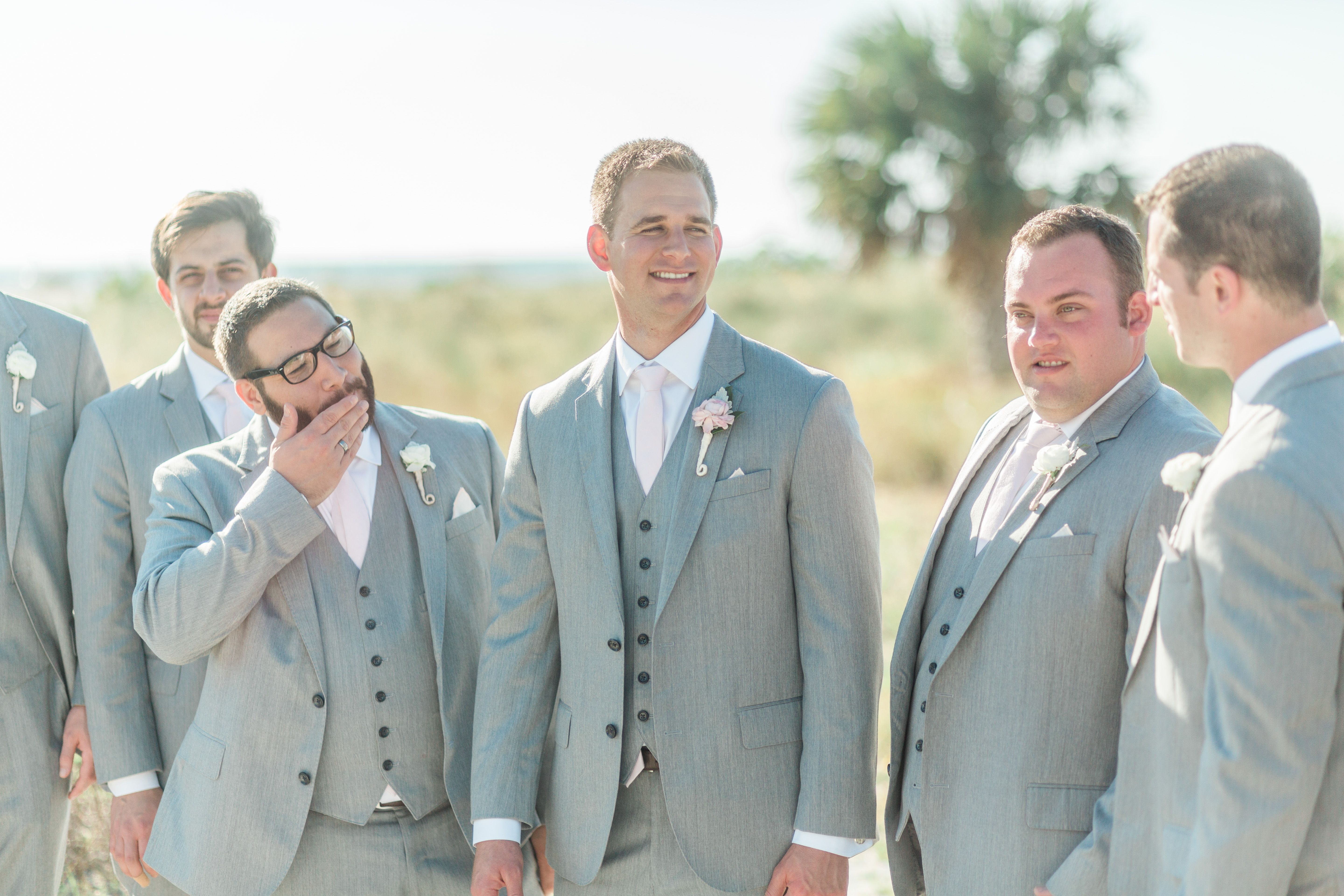 Light Grey Groomsmen Suit With Blush Pink Ties... Perfect Look for ...