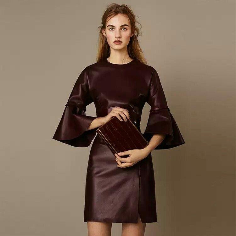 2015 fall fashion leather dress