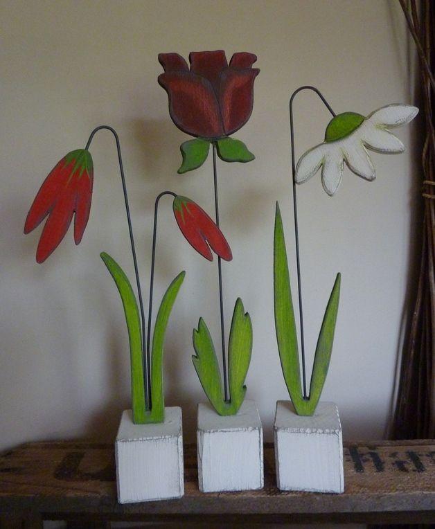 Bestellartikel*kleine Sockelblumen , 3Stck flores y frutas y - peinture bois et fer