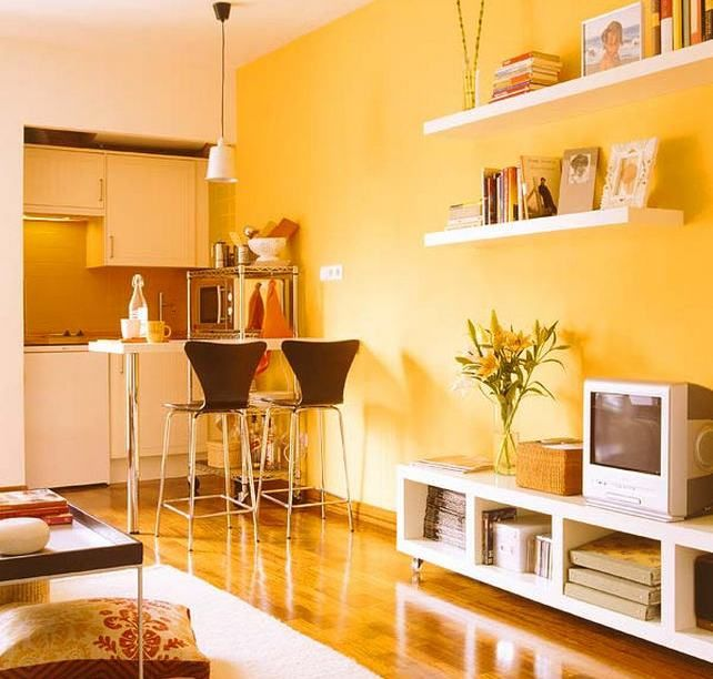 Warm yellow wall color is one of the long sides - Solar Yellow ...