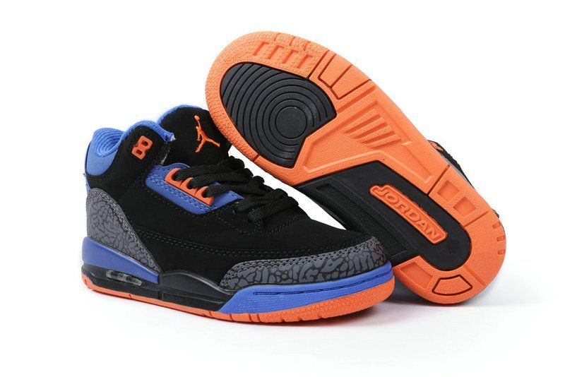 cheap for discount 4ac36 6b8d2 Air jordan 3 black blue orange kids shoes