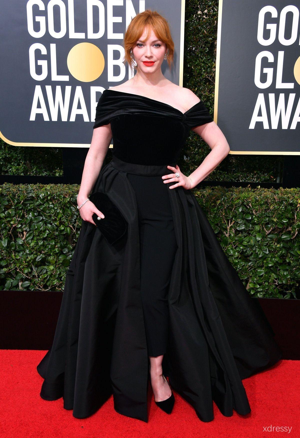 112892488e5 Christina Hendricks Black Asymmetrical Neckline with Split Skirt Prom Ball  Gown Golden Globes 2018 Red Carpet