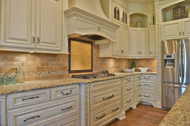 Ivory cabinets | Glazed kitchen cabinets, Traditional ...