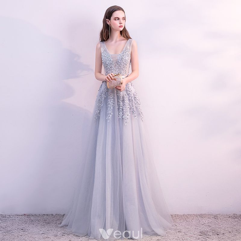 Chic   Beautiful Grey Evening Dresses 2018 A-Line   Princess Lace Flower  Pearl Sequins Sash U-Neck Sleeveless Backless Floor-Length   Long Formal  Dresses 4ed95e7ee