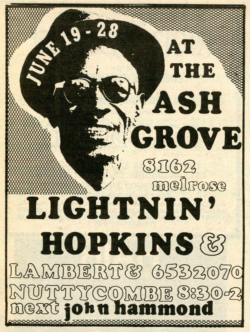 Lightnin Hopkins Advertise 1970