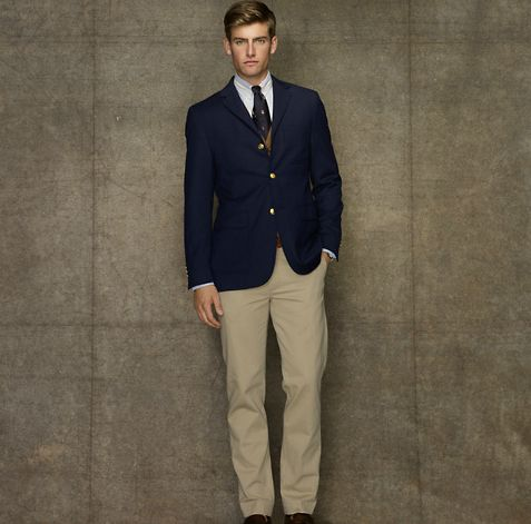 Navy blue blazer and khakis | Hommes | Pinterest | Rugby, Man ...