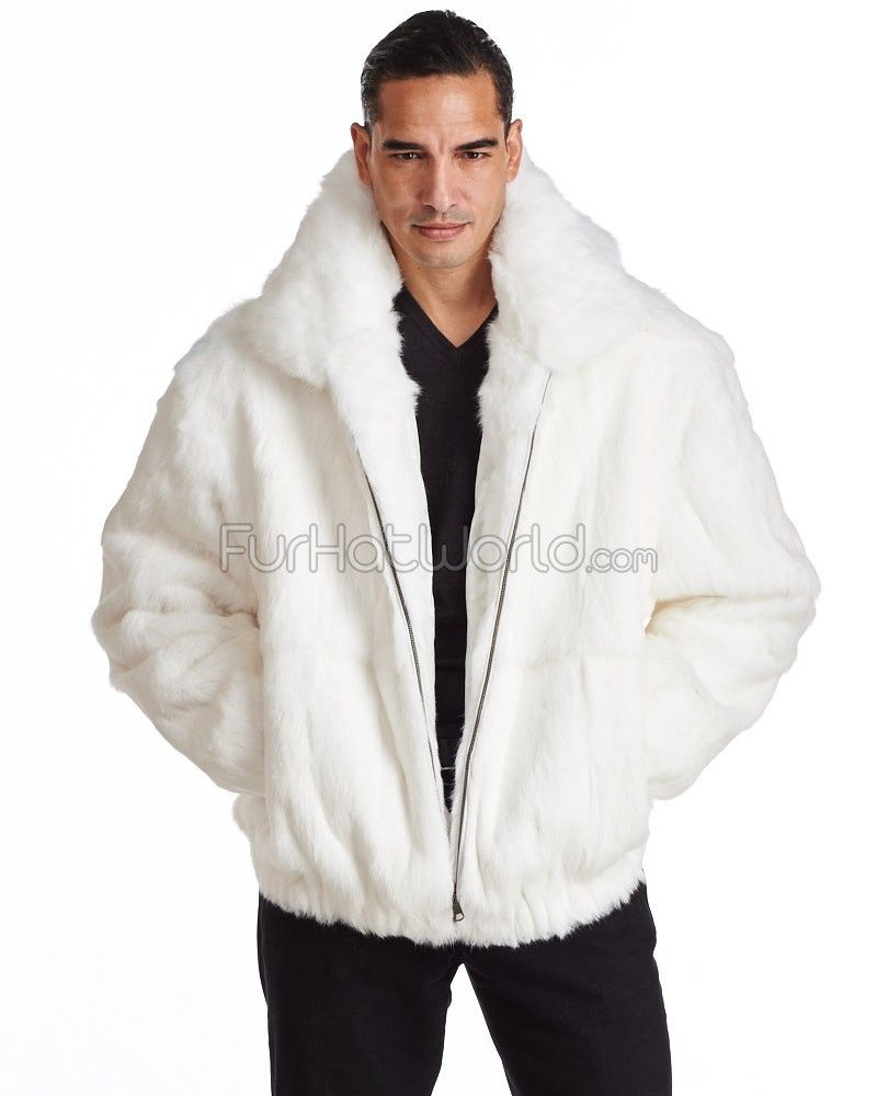 Lucas White Rabbit Fur Hooded Bomber Jacket for Men | White ...
