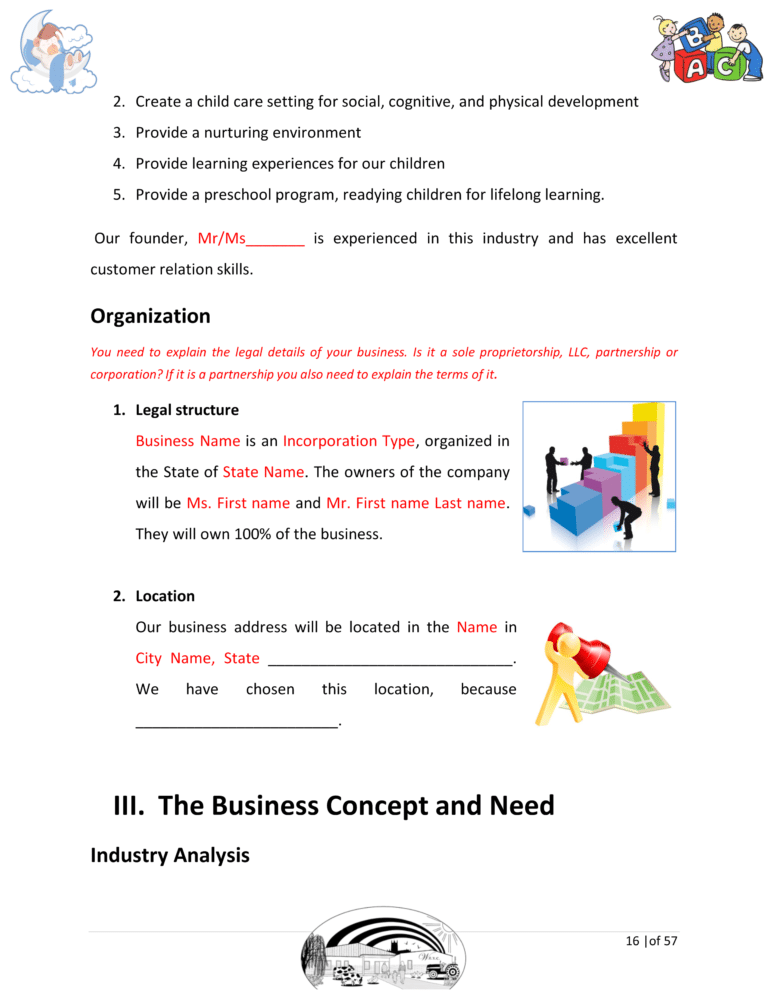 Daycare Business Plan Template Sample Pages Daycare