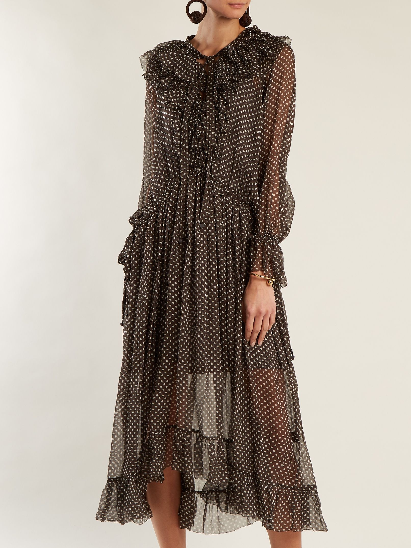 Painted Heart Ruffle polka dot-print silk dress Zimmermann Znq8vYH