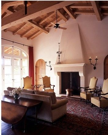 Fireplace Blended Into Wall Spanish Living Room Design Spanish