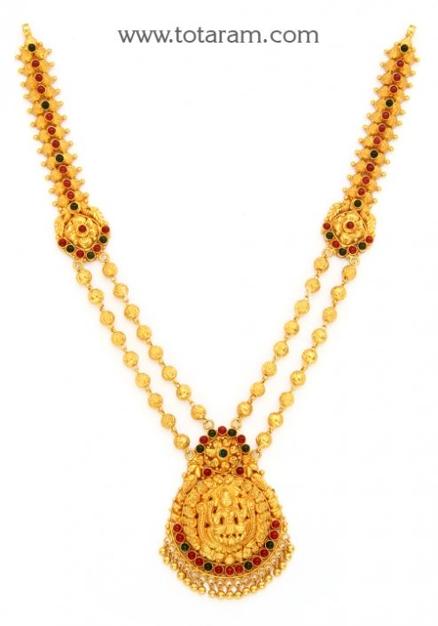 22K Gold Lakshmi Necklace Temple Jewellery Totaram Jewelers