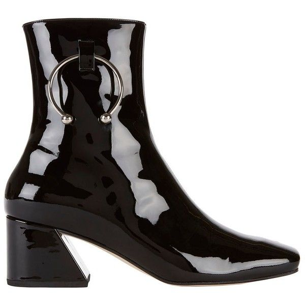 a1ba76b70 Dorateymur Women's Nizip Silver Piercing Patent Leather Booties ($570) ❤  liked on Polyvore featuring