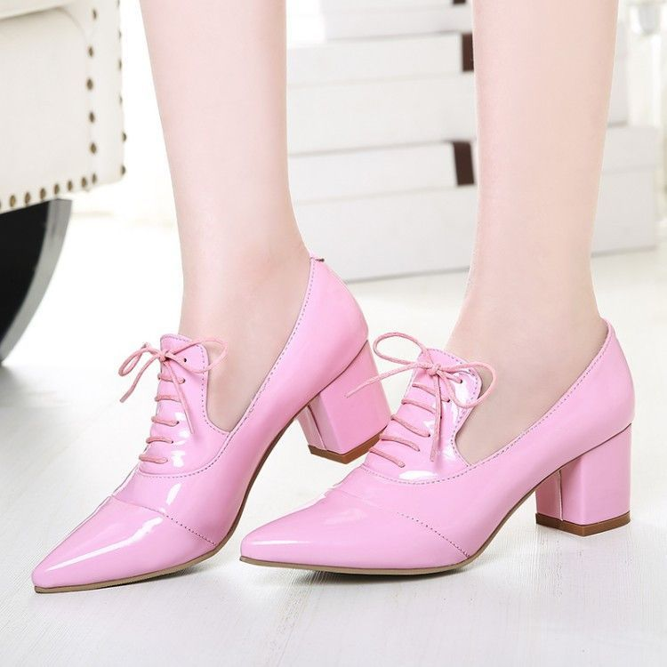 LACE UPS POINTED BLOCK HIGH HEELED HEELS ANKLE BOOTS SIZE SHOES 3 4 5 6 7 8