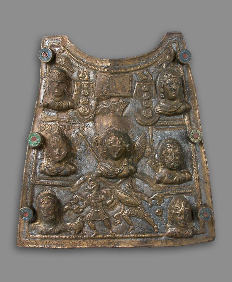 Fantastic piece of ancient Roman armour, pectoral from a scale armour (lorica squamata), with a beautiful relief depiction, decorated with high relief busts of Mars, Jupiter and female deities. The middle of the bottom frieze depicts the battle between two Hector and Achilles. 3rd century CE, found at Ritopek, Belgrade, Serbia.