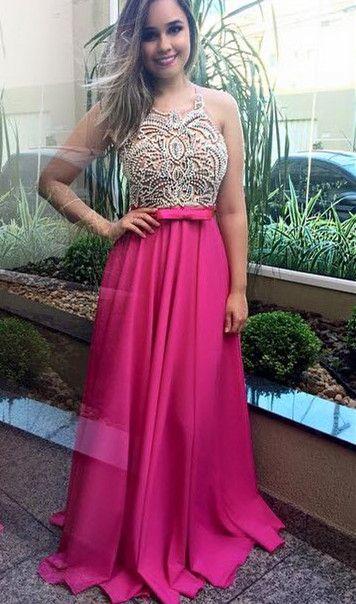 Modern Beadings Fuchsia Chiffon Prom Dress 2016 Sleevelss A ...