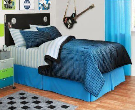 Boys Blue Black Reversible Twin Kids Bed Design Bed Design Tomboy Bedroom Bedding theme for boys bedroom