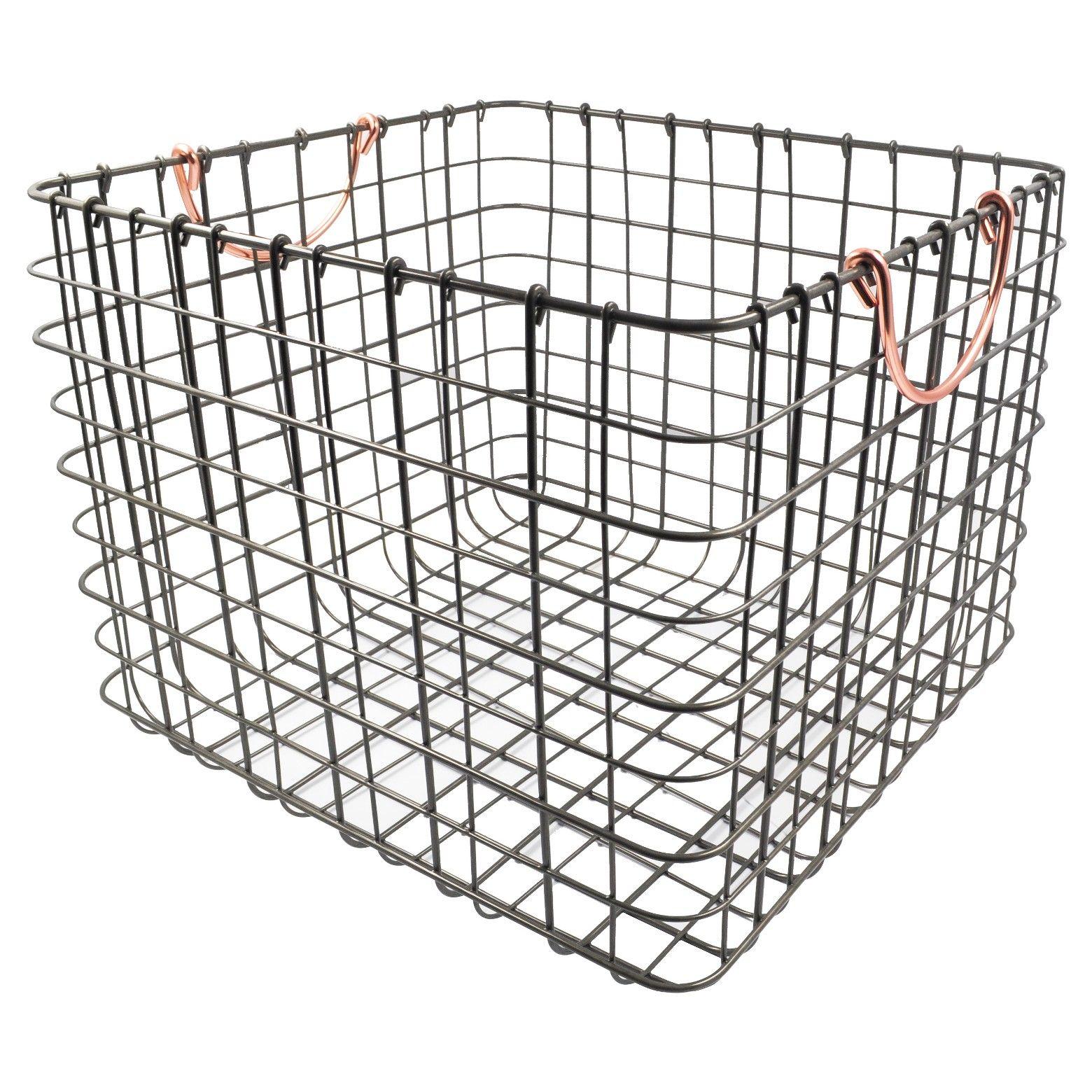 Large Wire Milk Crate With Handles Copper Threshold Milk Crates Decorative Storage Bins Copper Handles