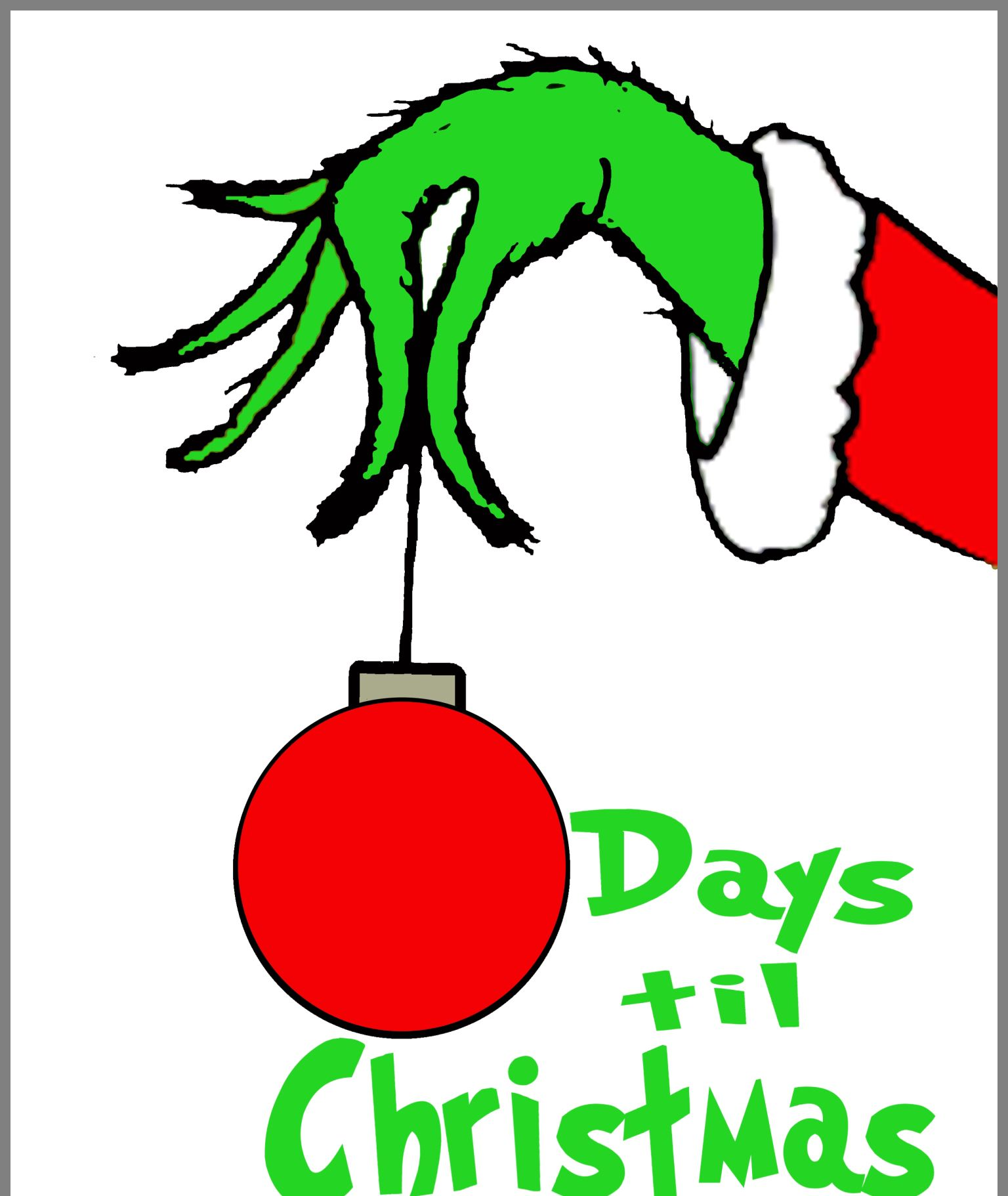 Free Grinch Hand Christmas Countdown Printable Printables 4 Mom Grinch Hands Christmas Countdown Printable Grinch Christmas Decorations