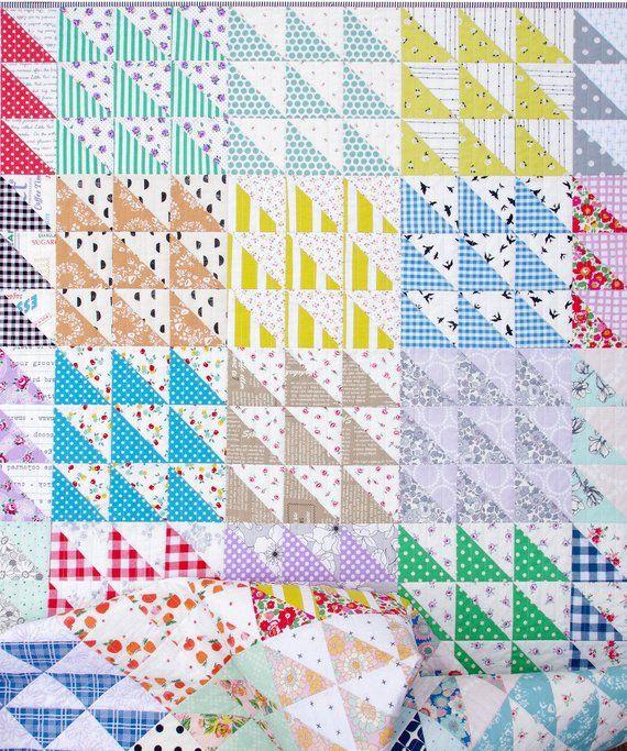 Retro Half Square Triangle (HST) Quilt Pattern (pd