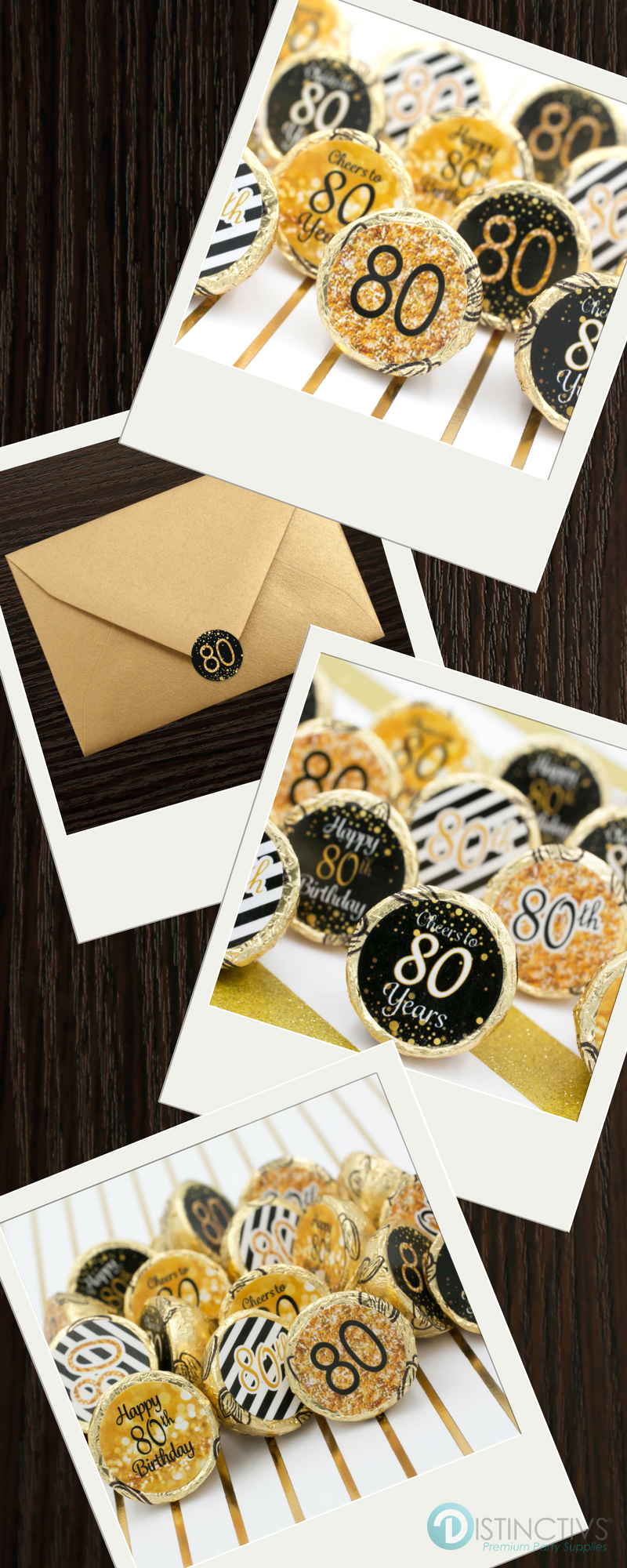 Black and gold 80th birthday party favor stickers set of for 80th decoration