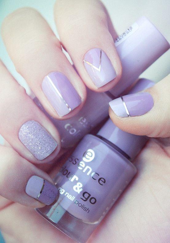 Uñas moradas con cintas ~ Violet Nails with tape   Uñas   Pinterest ...