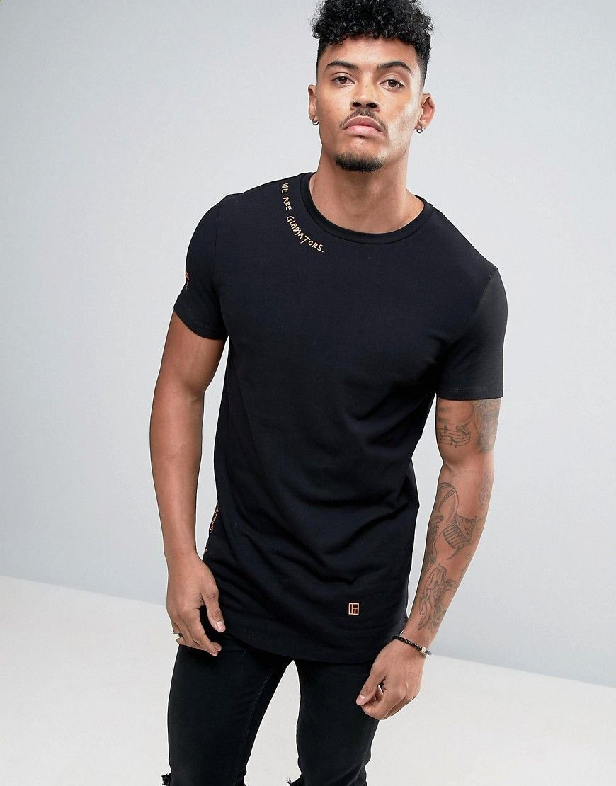 7188f009 ASOS Longline Muscle T-Shirt With Curved Hem And Text Print - Black ...
