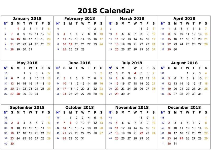 Monthly calendar template 2018 printable