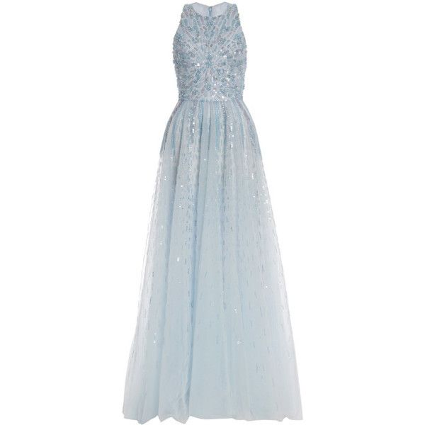 Monique Lhuillier Iridescent Blue Embroidered Tulle Gown (22.215 BRL) ❤ liked on Polyvore featuring dresses, gowns, long dresses, vestidos, sky blue, long blue dress, embroidered dress, a line gown, blue gown and blue dress