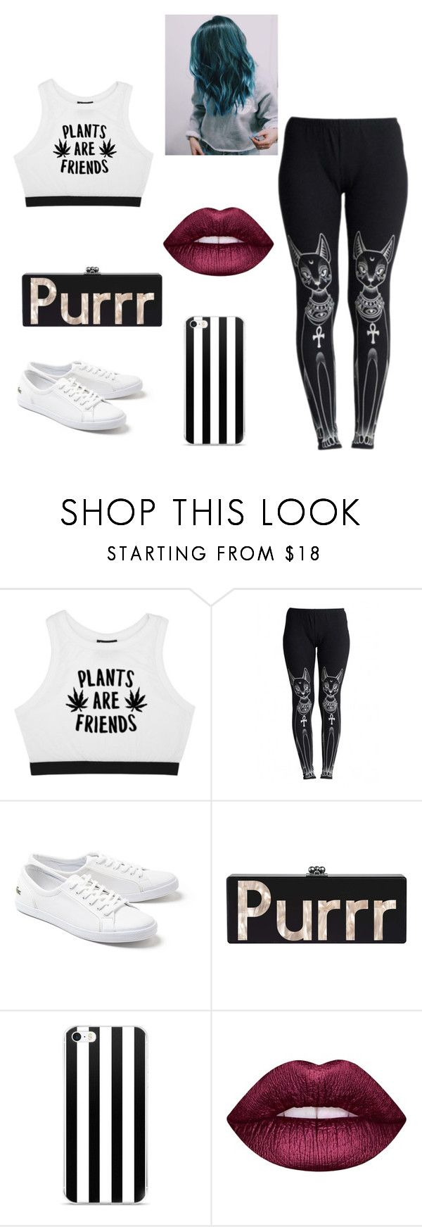 """""""Untitled #713"""" by catlynn-and-chey-chey on Polyvore featuring Minga, WithChic, Lacoste and Lime Crime"""