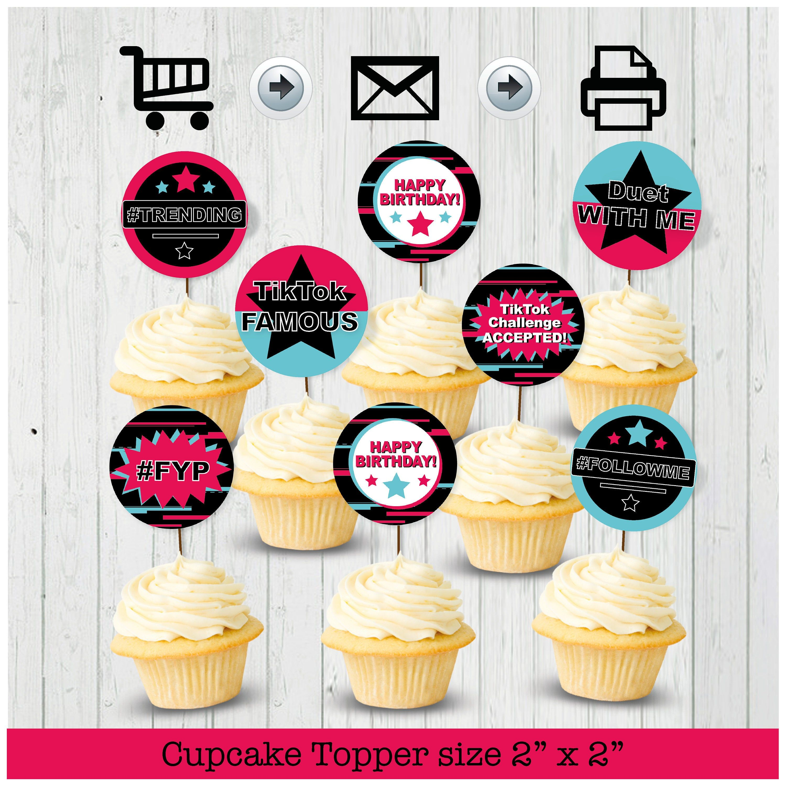 Tiktok Inspired Cupcake Toppers Party Printable Printable Etsy Cupcake Toppers Printable Party Printables Dance Diy