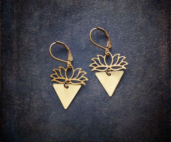 Minimal Geometric Brass Lotus Earrings by BevaStyles on Etsy