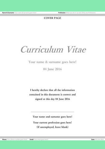 The A to Z of what a Curriculum Vitae should contain Its - professional cover page