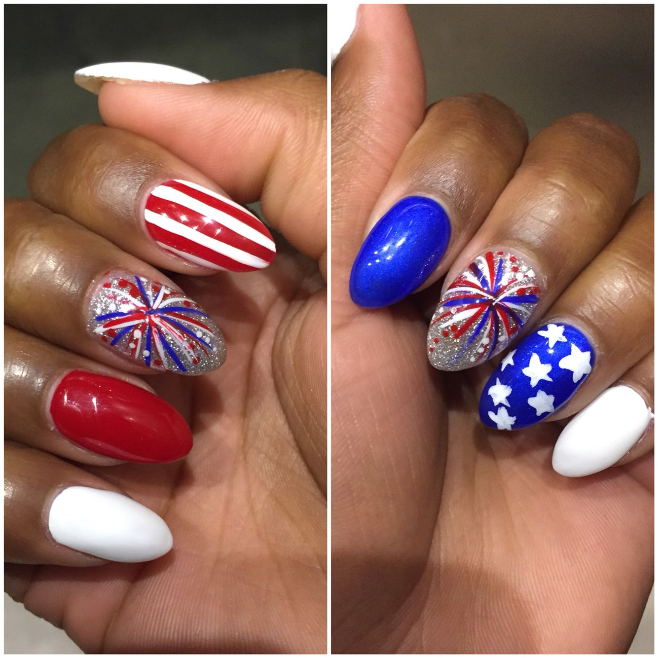 4th Of July Nails By Selena Fireworks Stars And Stripes