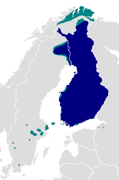 Finnish language map, detailed areas | Maps | Mapas
