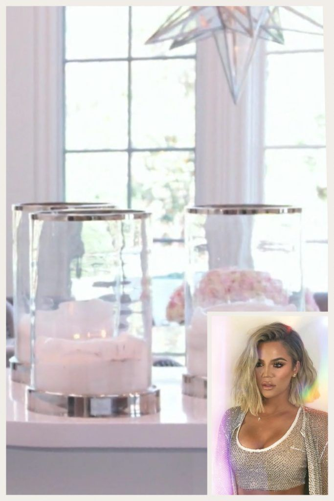 Khloe Kardashian's Nickel and Glass Hurricane Candle Holder Talking to Kendall... #khloekardashianhouse Khloe Kardashian's Nickel and Glass Hurricane Candle Holder Talking to Kendall... #khloekardashian