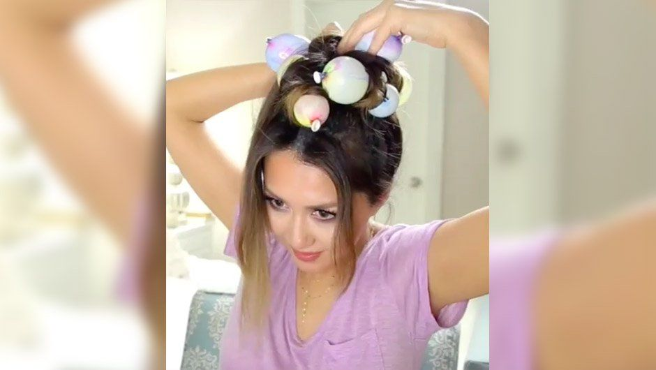 Watch this beauty vlogger curl her hair with balloons on SHEfinds.com.