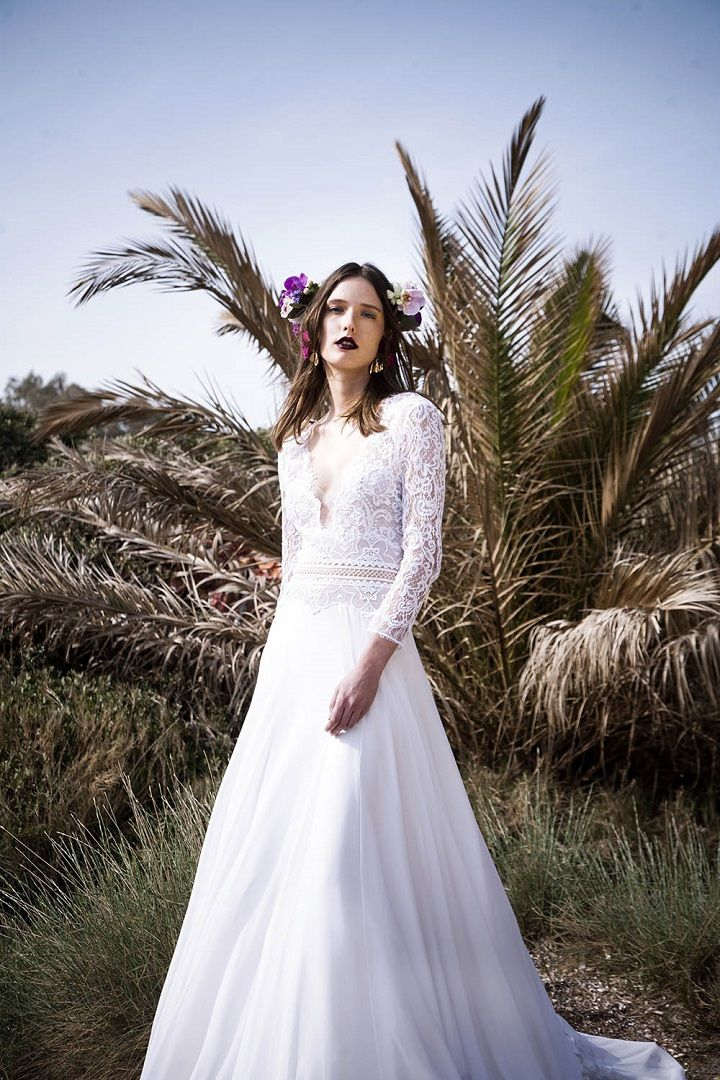 3/4 Sleeve sheer condonnet lace and trim chiffon maxi dress | itakeyou.co.uk #weddingdress #laceweddingdress #weddinggown #bridalgown #beachweddingdress