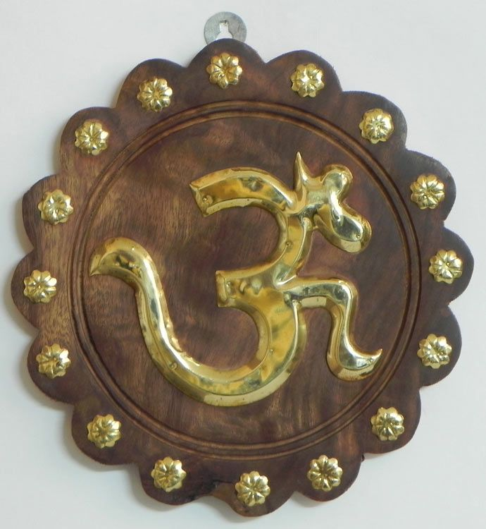 Brass Om On Wood Wall Hanging Wood Wall Hanging Wall Hanging Hanging