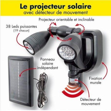 Lampe Double Projecteur Solaire Orientable 38 Leds Avec Detecteur De Mouvement Projecteur Solaire Projecteur Led Exterieur Projecteur Led