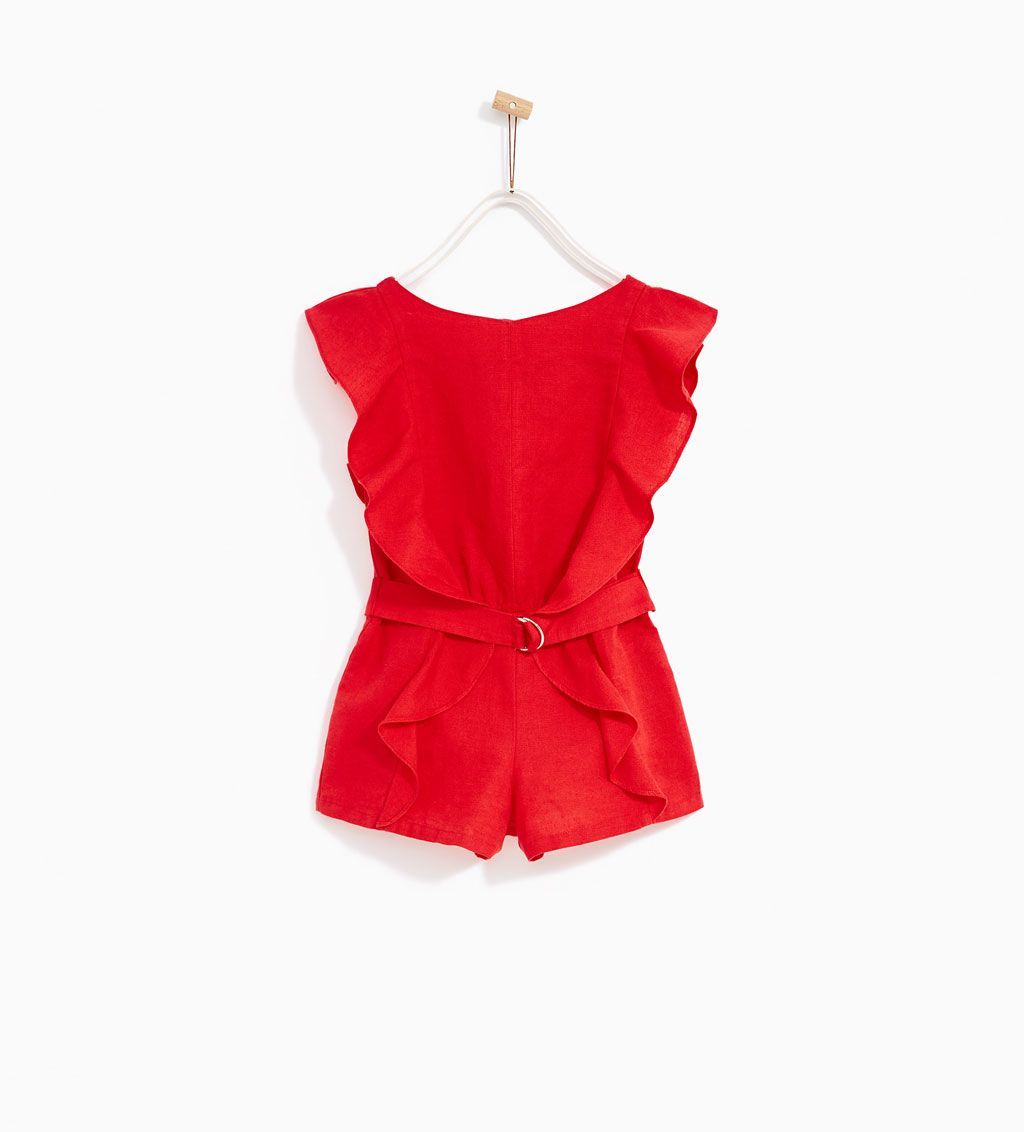 6728d3dfa9 Image 1 of RUFFLED JUMPSUIT WITH BUCKLE from Zara