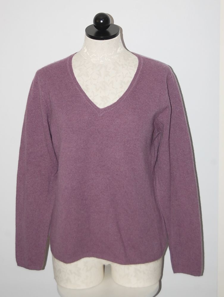 Lord & Taylor 100% Cashmere Purple V-Neck Sweater XL | eBay ...