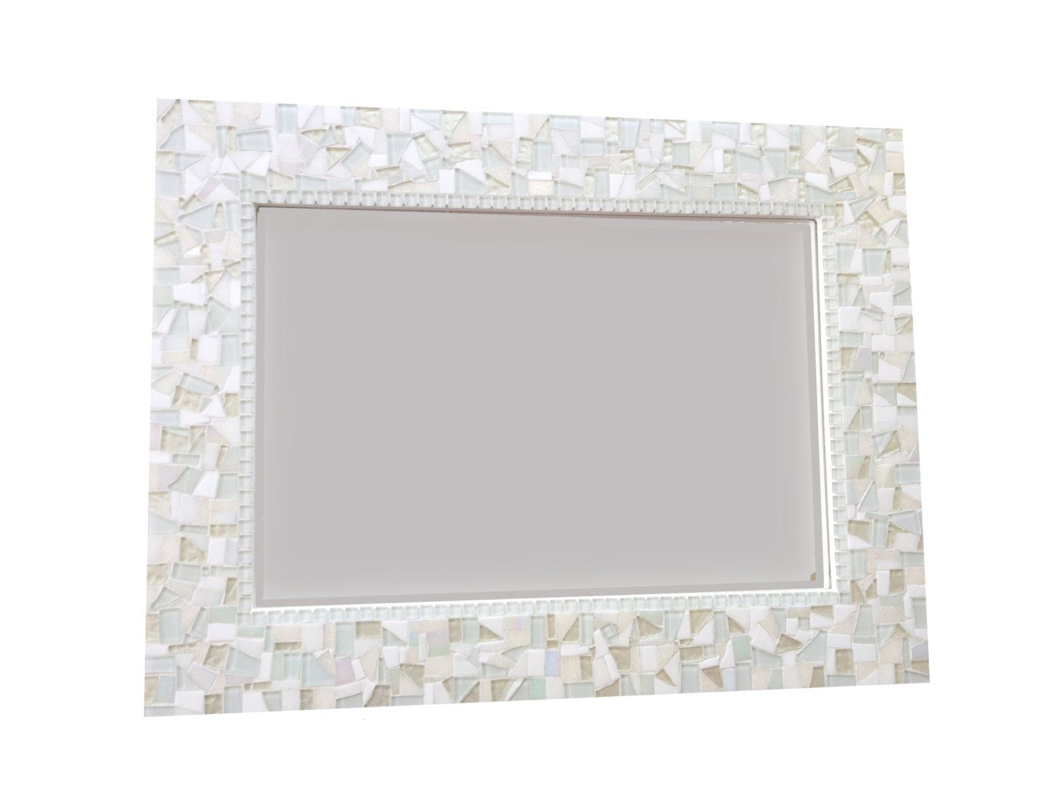 All white wall mirror large mosaic mirror by greenstreetmosaics this neutral all white mosaic wall mirror will no doubt make a stunning addition to any room in your home bathroom bedroom hallway living amipublicfo Image collections