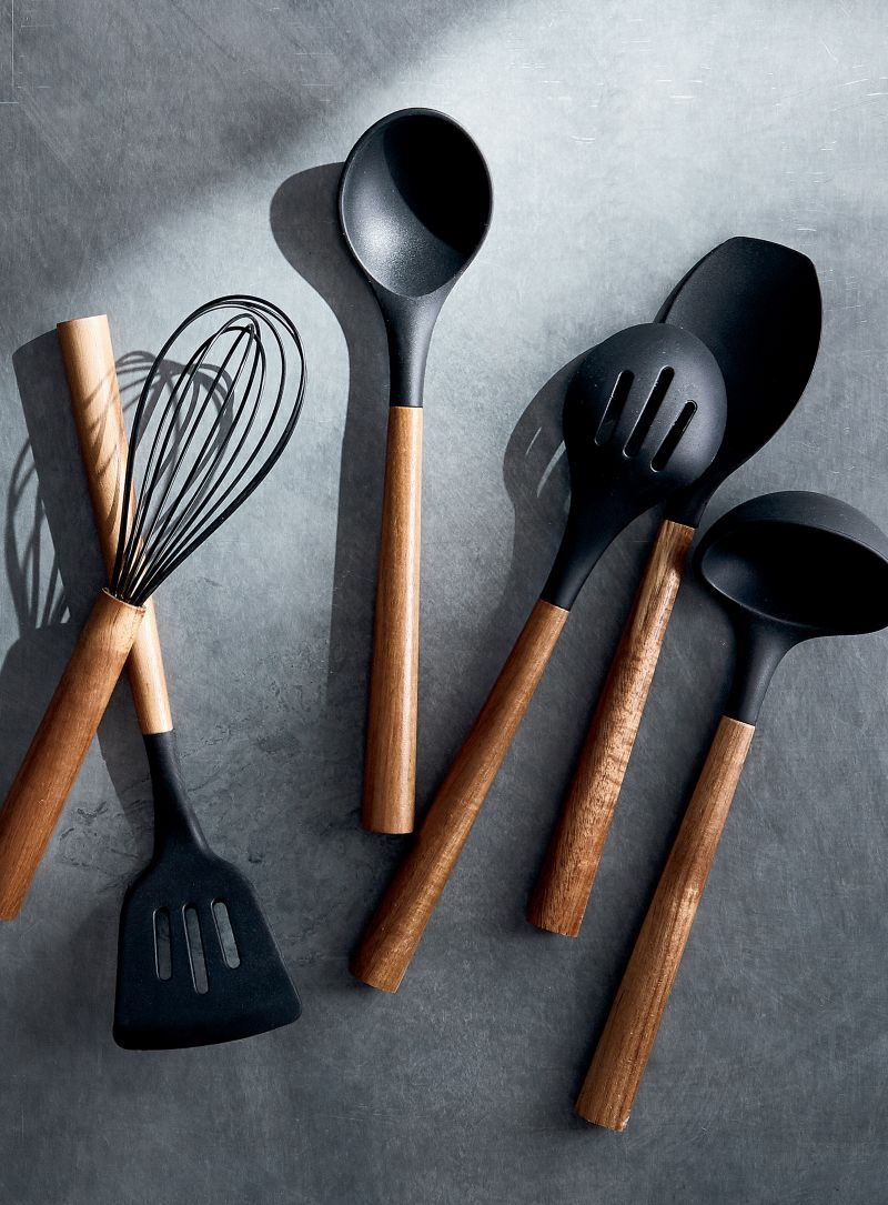 Black Silicone Utensils with Acacia Handles, Set of 6 + Reviews | Crate and Barrel