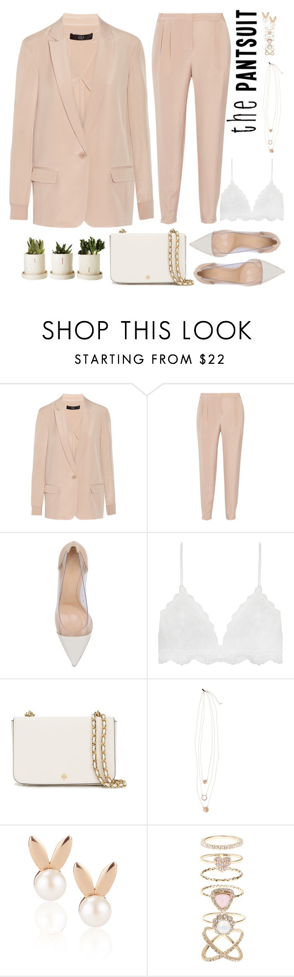 """""""Sweet pantsuit"""" by bmaroso ❤ liked on Polyvore featuring TIBI, Gianvito Rossi, Tory Burch, Topshop, Aamaya by priyanka, Accessorize, sweet, pastelpink and thepantsuit"""