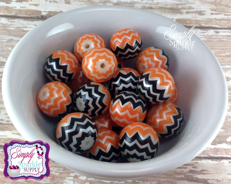 Orange & Black Chevron pearl chunky wholesale beads 20mm bubblegum beads