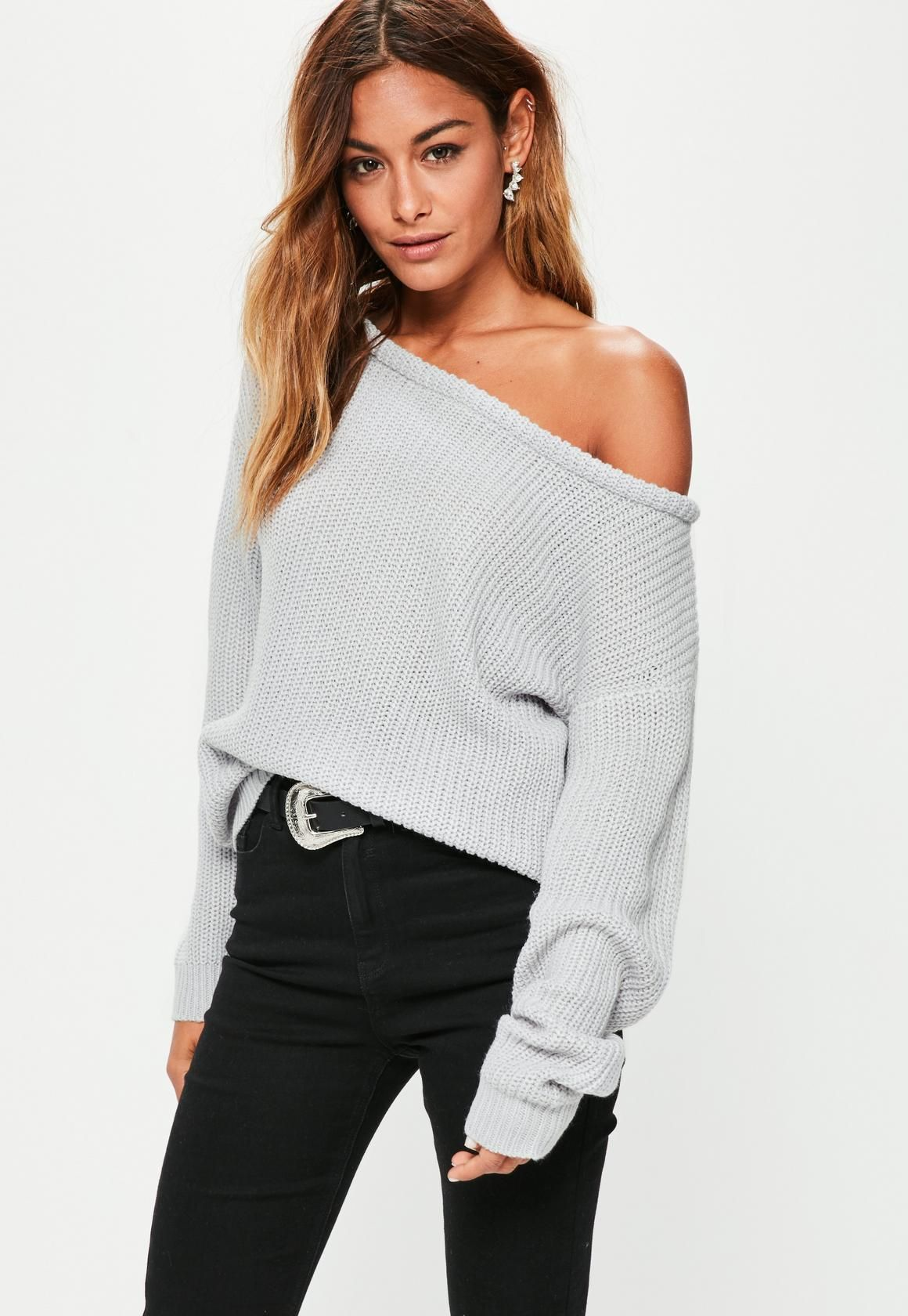 Grey Off Shoulder Knitted Sweater - Missguided | • Sites • | Pinterest