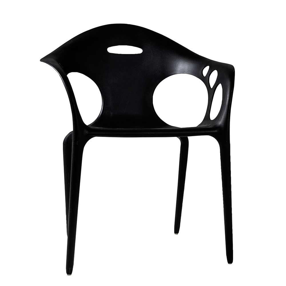 Design Esszimmerstuhl in Schwarz Kunststoff Armlehnen (4er Set ...